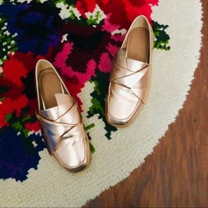 ASOS Rose Gold Geometric Bow Slip On Loafers